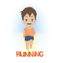 Cartoon front view on little boy in shorts and vector