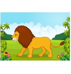 Cartoon lion from the side vector image