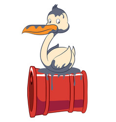 Cartoon seabird stained sitting on a turned barrel vector