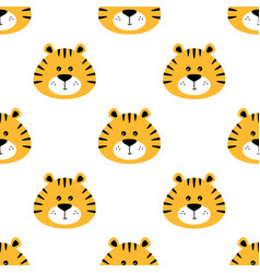 Cartoon seamless pattern with tiger heads on white vector