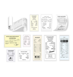 cash receipt paper checks shopping and prices vector image