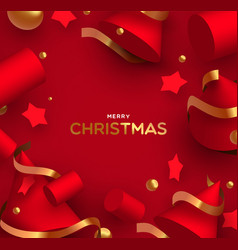 christmas card luxury realistic 3d red shapes vector image