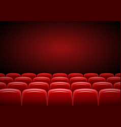 Cinema hall mock up with red seats showtime vector