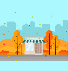 coffee shop in a city autumn season vector image