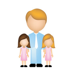 Color silhouette with father and daughters vector