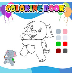 Coloring book elephant holding pencil and book vector