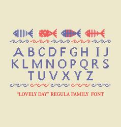 cross stitch alphabet typeface poster good idea vector image