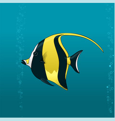 Cute black and yellow angel fish vector