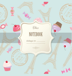 cute template for scrapbook girly design birthday vector image