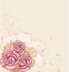 Decorative background with pink roses vector image