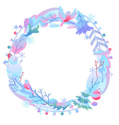Decorative frame with winter items vector