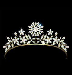 diadem with diamonds and pearls vector image