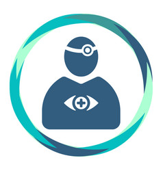 doctor icon with reflector tool and eye in frame vector image
