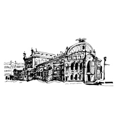 Drawing of Ukraine Kyiv national opera and ballet vector