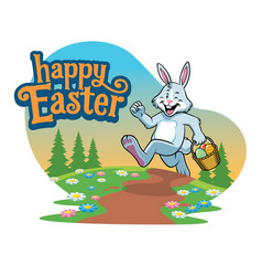 easter bunny carry basket eggs vector image