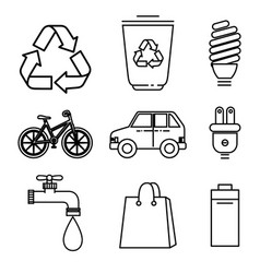 Eco friendly objects design vector