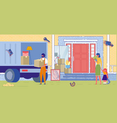 Family moving house and mover shiping furniture vector