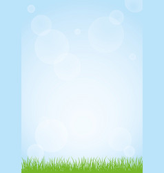 field of green grass and blue sky background vector image