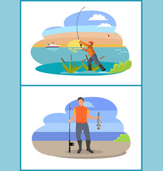 fisherman with fishing rod and fish icon vector image