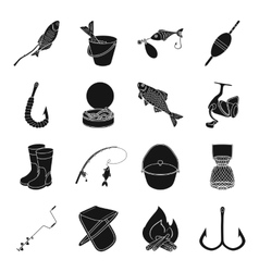Fishing set icons in black style Big collection vector