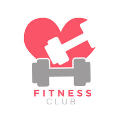 Fitness club logo design with dumbbells on vector