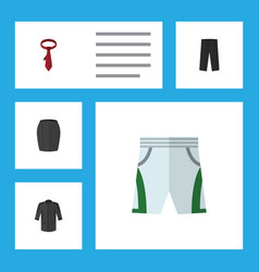 Flat icon garment set of trunks cloth uniform vector