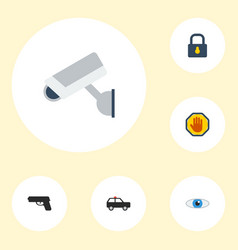 Flat icons camera armored car vision and other vector