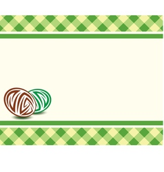 Frame with eggs on a plaid background easter vector