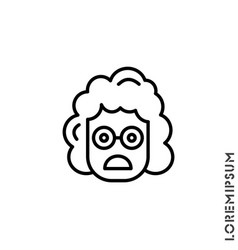 Frowning with open mouth girl woman emoji outline vector