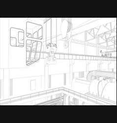 Gantry crane in a factory environment wire-frame vector