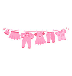 girl newborn clothes cute pink dress hat pants vector image