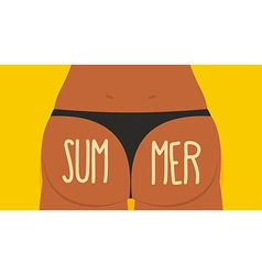Girl Tan Ass in panties Summer Bikini S vector image