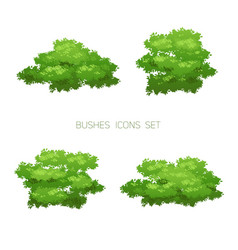 Green bush nature set vector