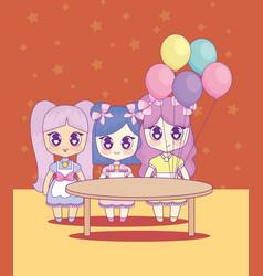 group of cute kawaii girls characters vector image