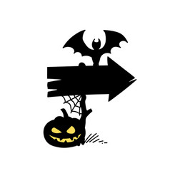 halloween direction sign vector image