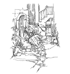Hand made sketch of old street vector image