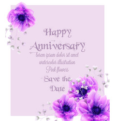 happy anniversary card with pink flowers vector image