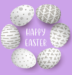 Happy easter eggs frame with text white eggs on vector