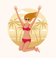 happy woman at beach vector image