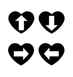 heart icon set a symbol of love valentines day vector image