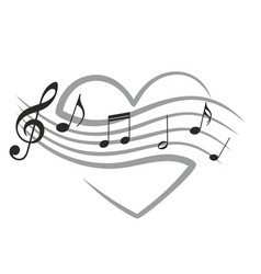 Heart with music notes vector