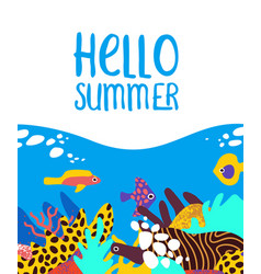 hello summer card tropical coral reef fish art vector image