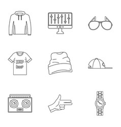 Hip hop icon set outline style vector