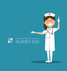 international nurses day on a blue background vector image