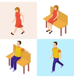 Isometric People Walking Woman and Man vector image