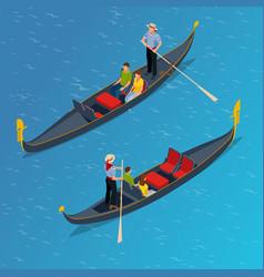 Isometric traditional gondola gondola with vector