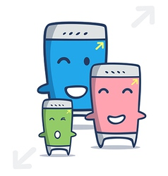 kawaii cartoon of smart phone in different sizes vector image