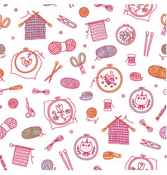knitting and stitching pattern vector image