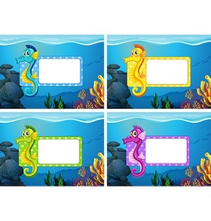Label design with underwater theme vector