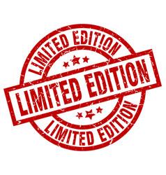 Limited edition round red grunge stamp vector